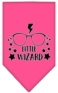 Little Wizard Screen Print Bandana Bright Pink Small